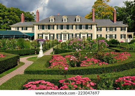 Manchester Village, Vermont - Sepember 18, 2014:  East Front of Hildene, Robert Todd Lincoln's 1905 Georgian Revival Summer home and its formal gardens