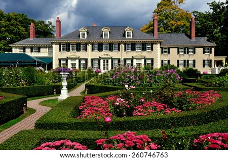 Manchester Village, Vermont - September 17, 2014:  East Front of Robert Todd Lincoln's 1905 Georgian Revival Summer home and its formal gardens