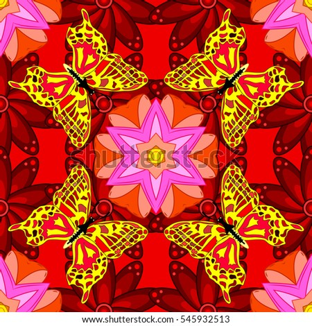 Mandalas background. Red, pink, yellow. Butterfly. Raster illustration.