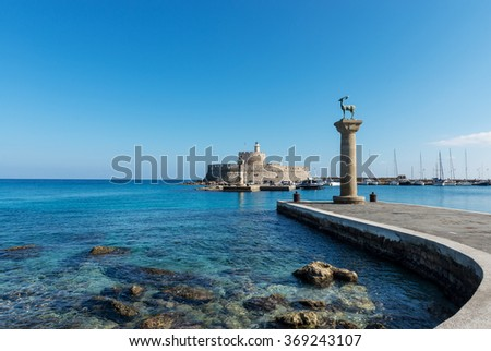 Mandraki harbor entrance, Rhodes Greece