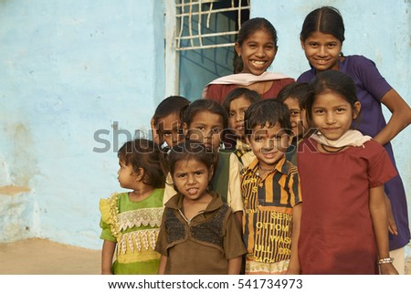 MANDU, MADHYA PRADESH, INDIA - NOVEMBER 19, 2008: Group of children in the hilltop town of Mandu in Madhya Pradesh, India.
