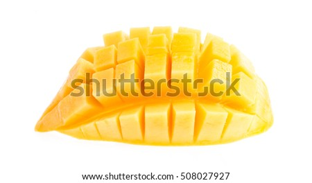 Mango slice cut to cubes isolated on white background