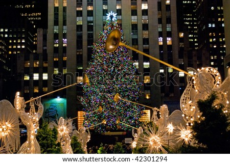 MANHATTAN - DECEMBER 4: Crowds of tourists in Rockefeller Center come to see the world famous Christmas Tree on Dec 4, 2009 in New York City.