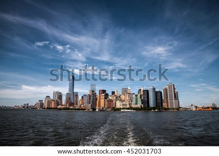 Manhattan skyline as seen from the Hudson river, New York