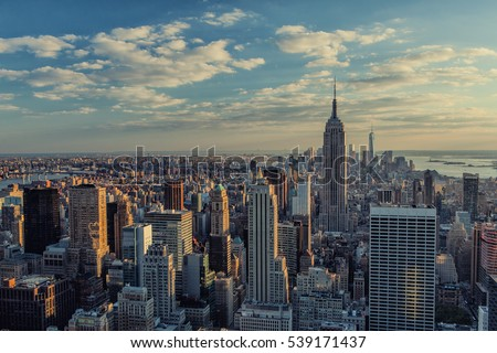 Manhattan skyline at sunset in New York City