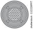 manhole cover (manhole street cover) - stock photo