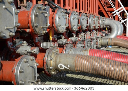 manifold of chemical tanker