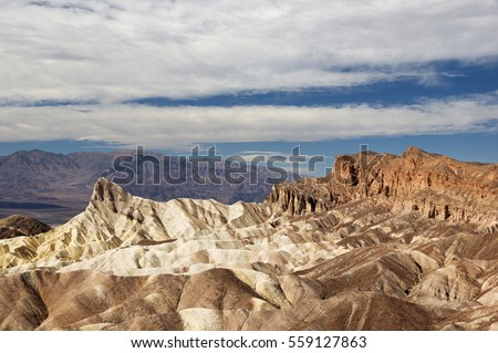 Manly Beacon and Red Cathedral viewed from Zabriskie Point in Death Valley National Park