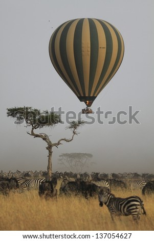 Manned balloon flying over the african savanna