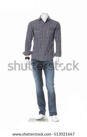 mannequin dressed in cotton plaid shirt dress collection with jeans