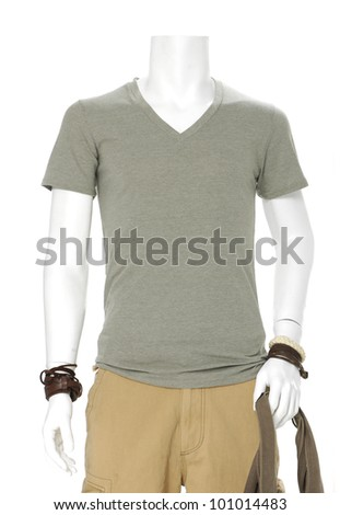 mannequin dressed in t- shirt with bag