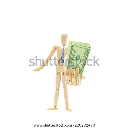 Mannequin holding out one hundred dollar bills US Currency wearing blue striped tie standing isolated on white background
