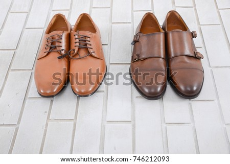 shoe wall brown leather shoes on wood background stock photo 535145548