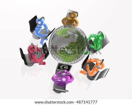 Mans with headphones and globe, white background, 3D illustration.