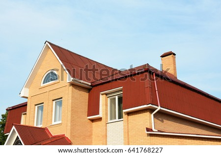 home construction roof new brick house modular chimney stone stock photo 452442187