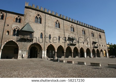 Mantua, Italy, wide angle view of Ducal Palace
