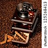 Manual coffee grinder with coffee beans and spices - stock photo