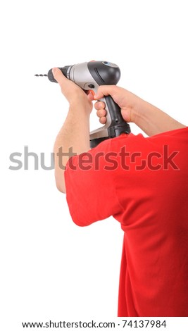 Manual worker using battery drill isolated on white background - a series of MANUAL WORKER images.