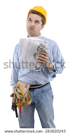 Manual worker with construction plan on hand looking at the space for your text.
