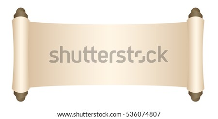 Manuscript blank paper isolated on white background.  illustration