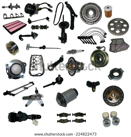 Many aftermarket and oem auto spare parts. Isolated auto spare parts on white background. Auto spare parts for passenger car. Isolated absorber, gasket, filters, parts for chassis. Spare parts shop
