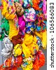 Many bright color cotton scarves on sale. Vertical shot - stock photo