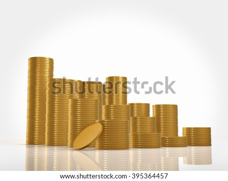 Many coins isolated on white background
