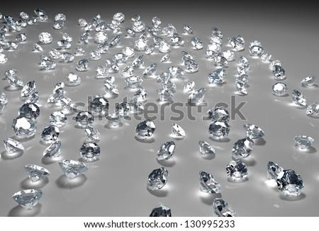 Brilliant Diamond Scattered On White Background Stock