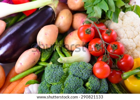 Many different ripe vegetarian vegetables close up