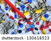 Many electrical components on schematic diagram. - stock photo