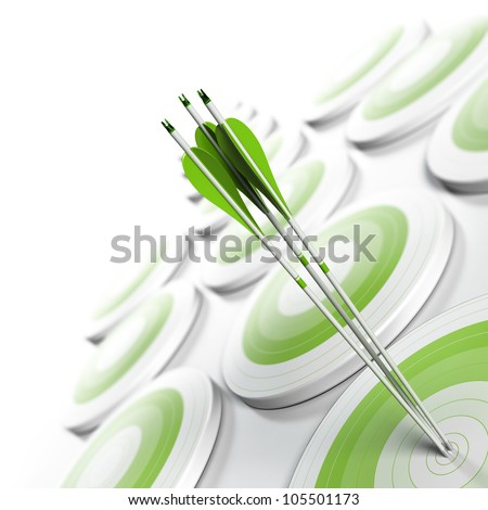 many green targets and three arrows reaching the center of objective, image fading from green to white with blur effect, square format. Strategic marketing or business competitive advantage concept.