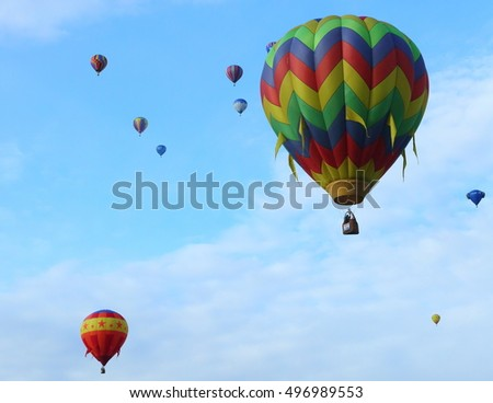 Many hot air balloons at the Balloon Fiesta in Albuquerque