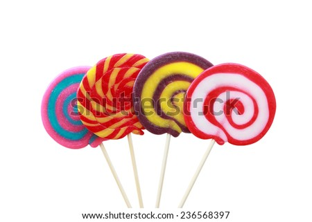many lollipop colorful on white background