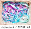 many multicolored gift ribbons - stock photo