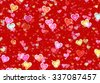 many multicolored hearts on red background. Love symbol - stock vector