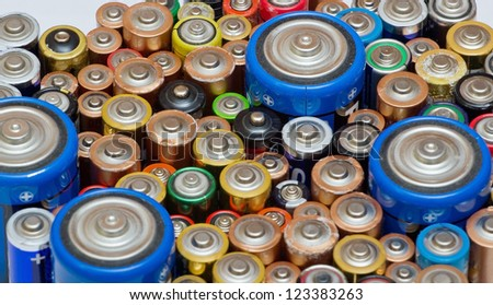 Many old batteries shown from above