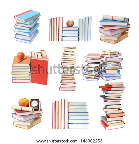 many piles of books isolated on white background