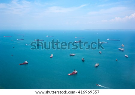 Many ships in the sea