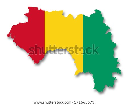 Map and flag of Guinea