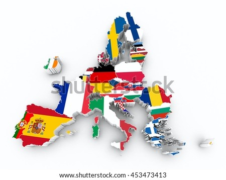 map europe union after brexit state flags on white isolated