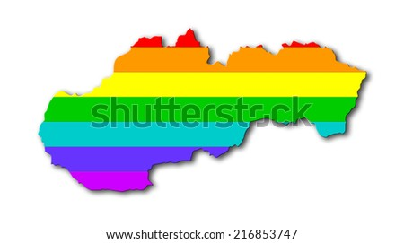 Map, filled with a rainbow flag pattern - Slovakia