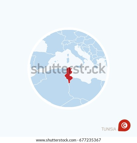 Map Icon Tunisia Blue Map Africa Stock Vector Shutterstock - Tunisia earth map