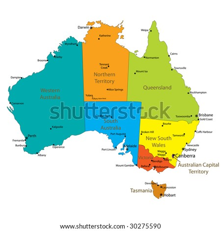 Map Australia Major Towns Cities Each Stock Vector - Australia major cities map