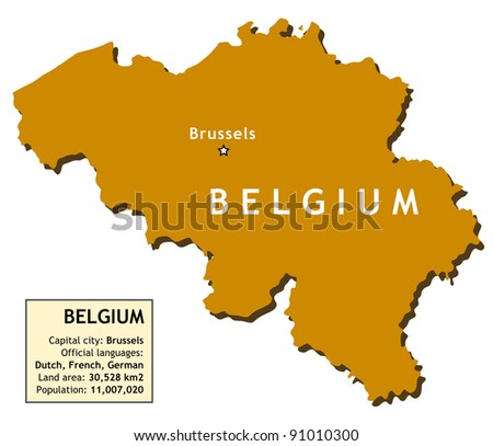 Map of Belgium with country information data table.