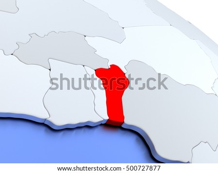 Map of Benin on elegant silver 3D globe with blue oceans. 3D illustration