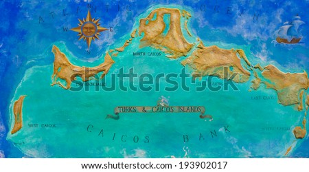 Map of Caribbean island Turks and Caicos painted on the wall