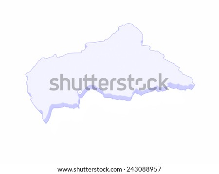 Map of Central African Republic (CAR). 3d