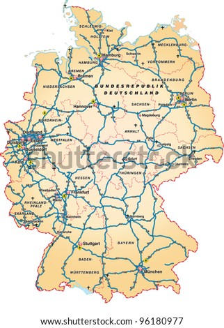 Map Germany Cities Country Autobahn Stock Vector - Germany map autobahn
