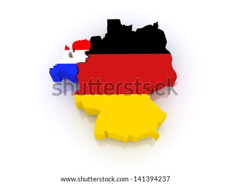 Map of Germany and the Netherlands. 3d