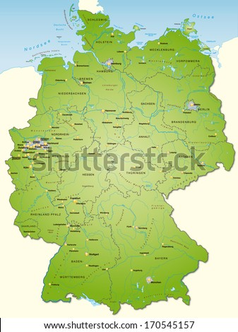 Map of Germany as an overview map in green